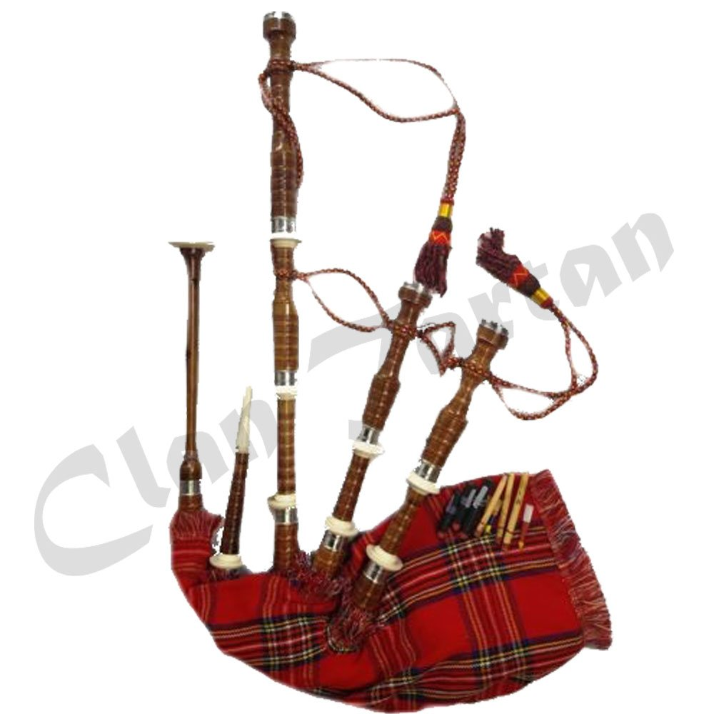 Scottish Full Set of Bagpipes Half Nickel Half Imitation Mounts Royal Stewart Tartan Cord by Mcandrew