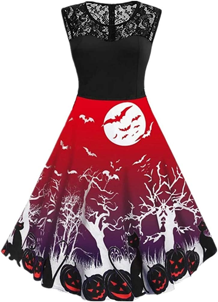 Nicetage Women/'s Vintage Sleeveless Bat Cat Pumpkin Print Dress Halloween Party Dress 50s Cocktail Dress