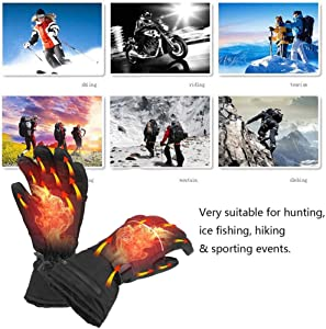weemoment Waterproof Winter Rechargeable Electric Heated Gloves,Men Women Battery Powered Heating Gloves,Touchscreen Thermal Insulated Heated Gloves for Outdoors Climbing Hiking Hand Warmer Agreeable