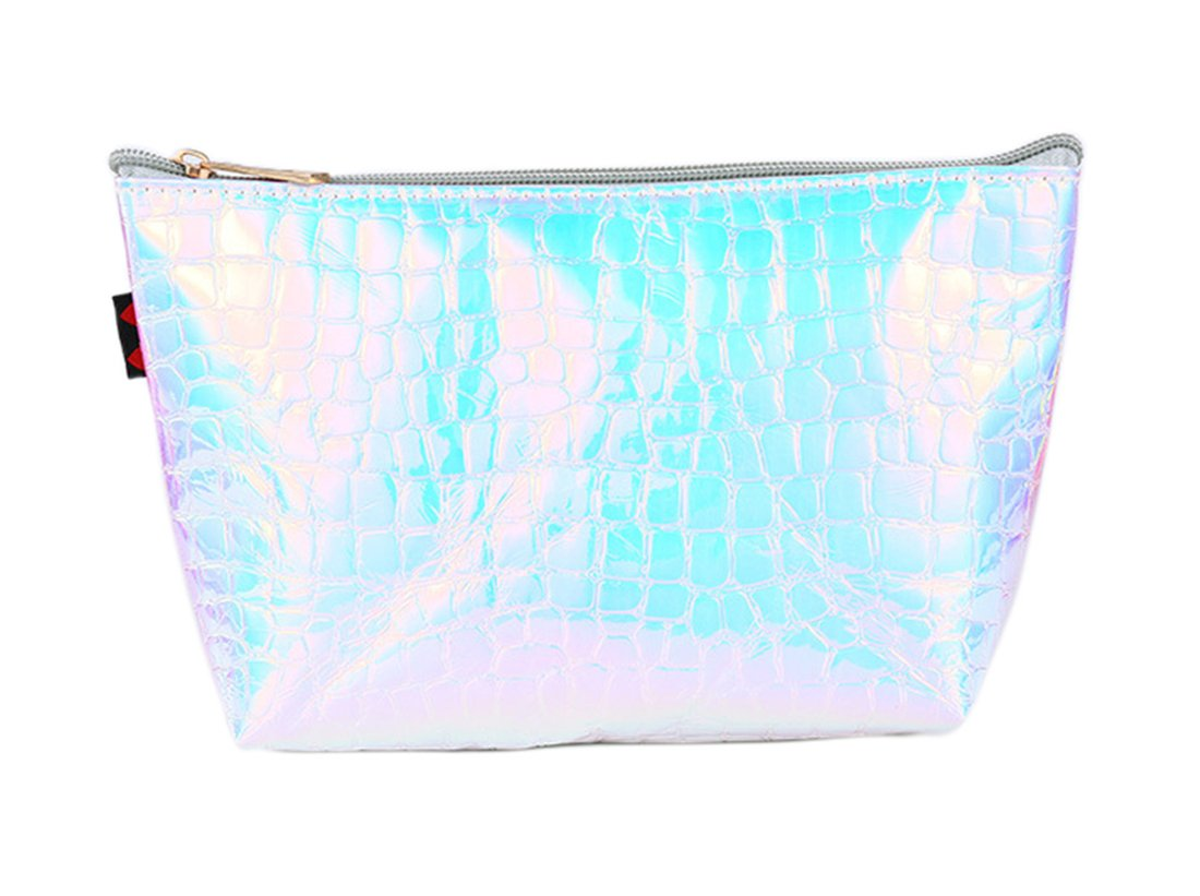 Hologram Cosmetic Bag Holographic Alligator Print Zipper Makeup Travel Pouch for Women Silver