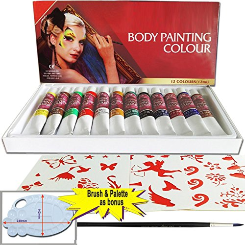 Indian Body Paint Costume (Miss Flora Face & Body Art Paint Set,Non-Toxic Water-based Moisture, Rich Pigment, Safe Water-Based Non-Toxic, Best pary supplies for kid & adult (12 ml) (12colors+1 brush))