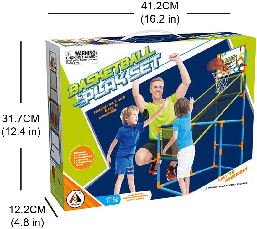 Basketball Hoop Play Set Arcade Shot Game - Indoor/Outdoor Sports Shooting System with Mini Hoop, Inflatable Ball and Pump