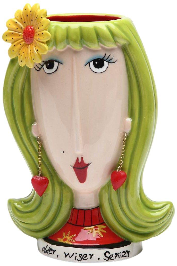 Appletree Design Daisy Lady Vase, 5-3/4-Inch Tall, Inscription Older, Wiser, Sexier