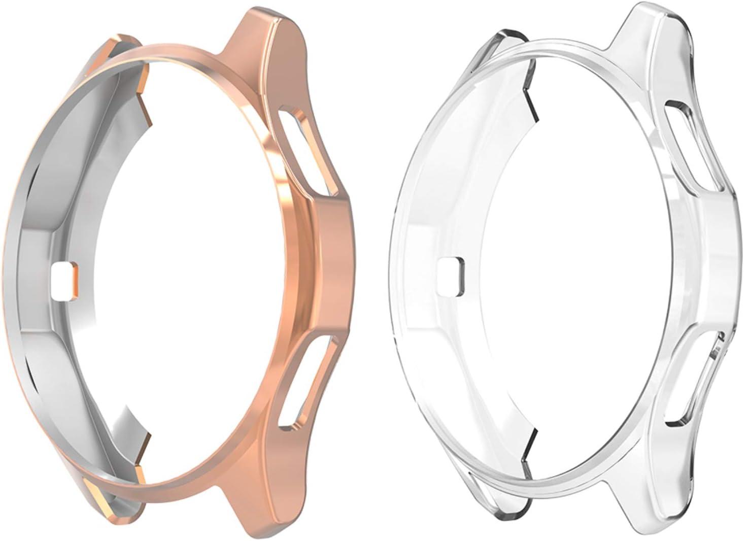 Hianjoo 2 Piezas Funda Compatible con Samsung Galaxy Watch 42mm, Suave Cubierta TPU Silicona Goma Carcasa Marco Resistente Rasguños Protectora de Conchoques Transparente,Oro Rosa