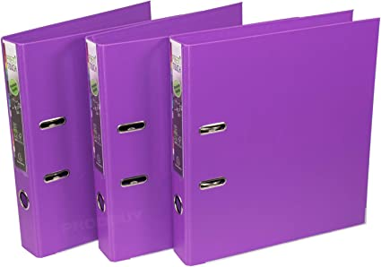 Pack de 3] Archivadores de palanca tamaño A4, 50 mm, color morado ...