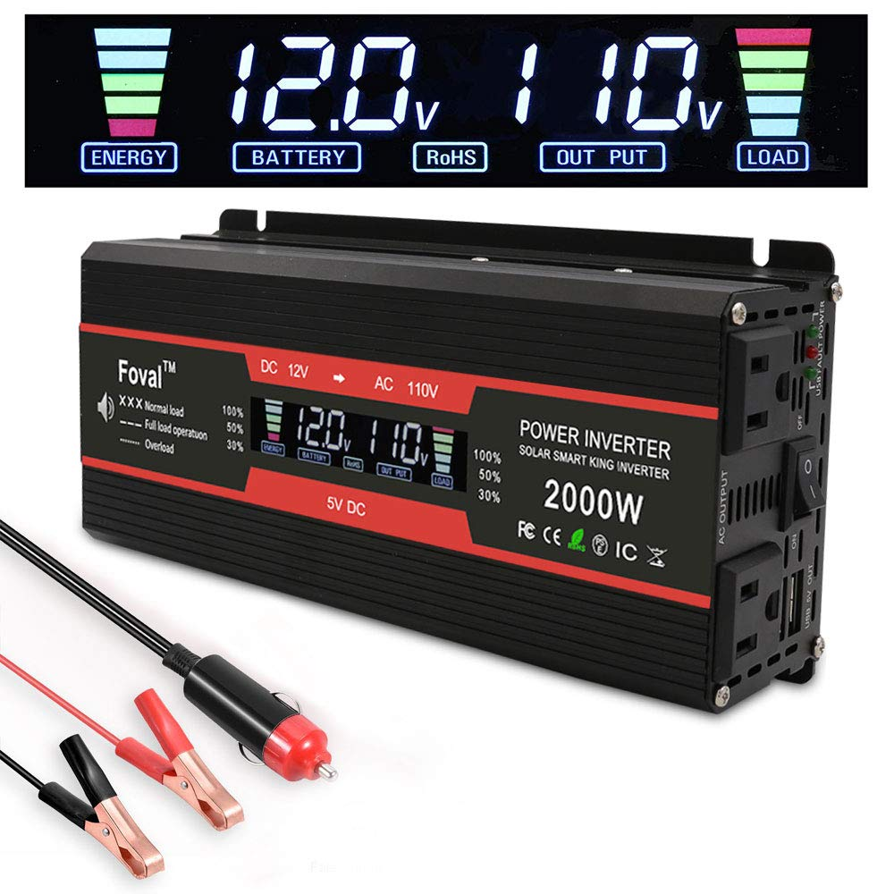 LVYUAN 1000W/2000W Power Inverter Dual AC Outlets and Dual USB Charging Ports DC to AC Inverter 12V to 110V Car Converter DC 12V Inverter with Digital LCD Display