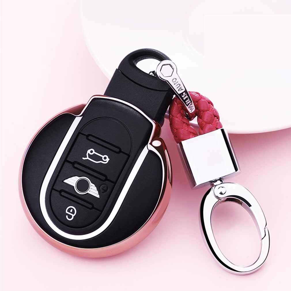 Pink Premium Soft TPU Car Key Case Shell Cover with Key Chain for BMW Mini Cooper F54 F55 F56 F57 F60 3//4-Buttons Smart Key