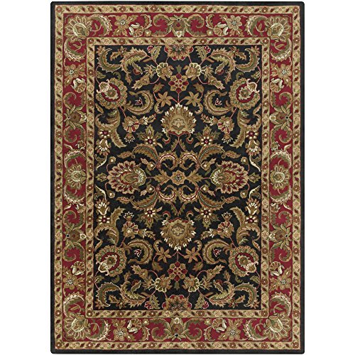 - Surya Ancient Treasures A-108 Classic Hand Tufted 100% Semi-Worsted New Zealand Wool Jet Black 8' x 11' Traditional Area Rug