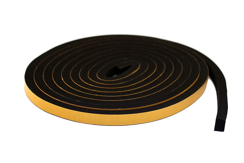 Ruban /éponge autocollant en n/éopr/ène Noir 10 mm de large x 12 mm d/épaisseur x 5 m de long