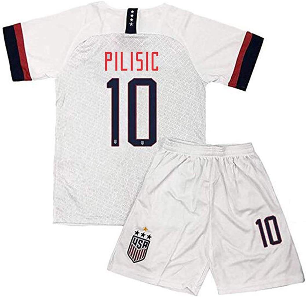 haobeibei 2019/2020 4 Star USA Team 10 Pulisic Soccer Home Kids/Youths Jersey T-Shirts & Shorts Color White