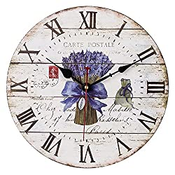 SkyNature 14 Inch Large Decorative Wooden Wall Clock Romantic French Style with Roman Numerals( Lavender)
