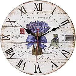 Home Decor Clock, Colorful Retro Roman Numerals Style,Silent Non -Ticking Quartz Battery Operated Wooden Wall Clock, Large Wall Art Decorative for Kitchen,Living Room and Kids Room(14 Inch, Lavender)