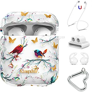 AirPods Case Cover Cute 5 in 1 with Bling Crystal from Swarovski for Apple AirPods 2 & 1 Protective Bird Design Hard PC Skin Case with Keychain/Anti-Lost Strap/Earhooks by KINGXBAR