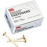 Officemate Round Head Fasteners, 2 Inch Shank, Brass Plated, Box of 100 (99817)
