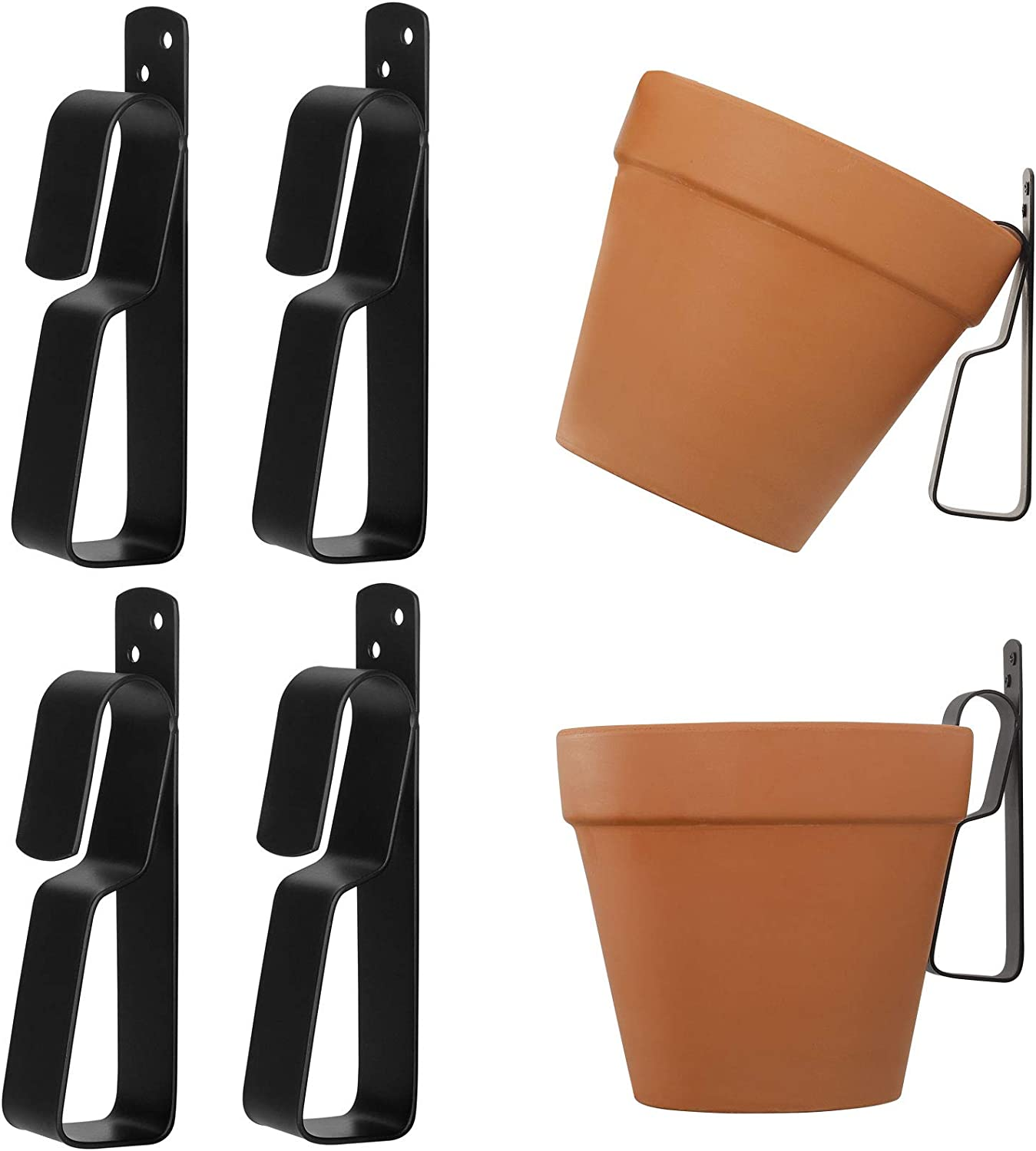 Terracotta Pots Hangers,ChasBete Wall Plant Hanger Hook for 4'' to 9'' Terracotta Pot, Stainless Steel Plant Hangers Indoor/Outdoor,4 Pack
