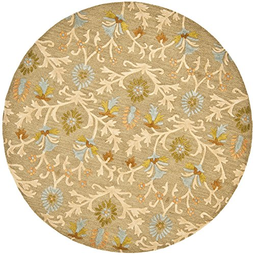 Moss Area Rug Round 8 - Safavieh Cambridge Collection CAM235A Handcrafted Moroccan Geometric Moss and Multi Premium Wool Round Area Rug (8' Diameter)