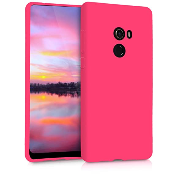 kwmobile TPU Silicone Case for Xiaomi Mi Mix 2 - Soft Flexible Shock Absorbent Protective Phone Cover - Neon Pink