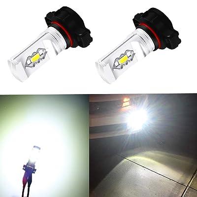Alla Lighting 3800lm Xtreme Super Bright 2504 PSX24W LED Foglight Bulbs 2504 Fog Lights High Illumination ETI 56-SMD LED PSX24W Bulb 12276 2504 PSX24W Fog Lights Lamp Replacement - 6000K Xenon White: Automotive