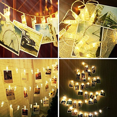 Alyattes Photo Clips String Lights Christmas Lights Starry Light Wall Decoration Light for Hanging Photos Paintings Pictures Card and Memos, Battery Powered (40 LED Warm White) by Alyattes (Image #2)
