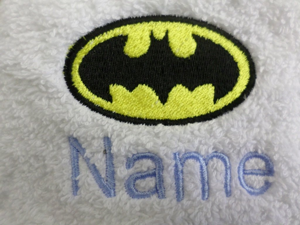 EFY White Baby Hooded Bath Robe or White Hooded Towel with a BATMAN Logo and Name of your choice. (Hooded Towel, 0-5 years)