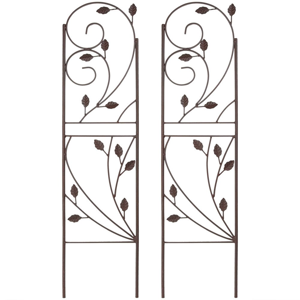 Sunnydaze 32 Inch Rustic Plant Design Garden Trellis – Metal Wire for Outdoor Climbing Flowers and Vines – Brown – Set of 2