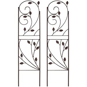Sunnydaze 32 Inch Rustic Plant Design Garden Trellis, Metal Wire for Outdoor Climbing Flowers and Vines, Black, Set of 2