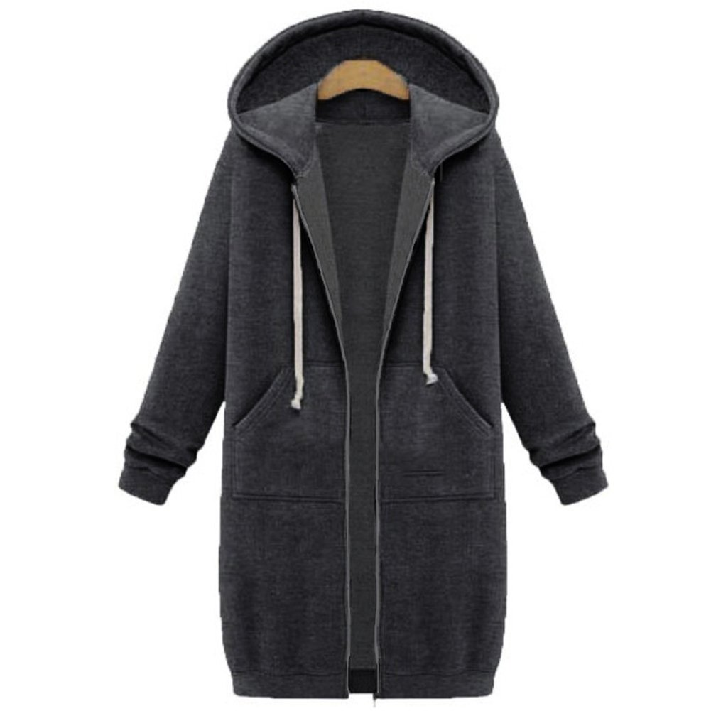 Your Gallery Women's Casual Long Hoodies Sweatshirt Coat Pockets Zip up Outerwear Hooded Jacket Plus Size Tops,Dark Grey,3XL