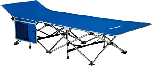 KingCamp Folding Camping Cot with Carry Bag, Portable and Lightweight Bed for Indoor Outdoor Use, Black Blue and Grey