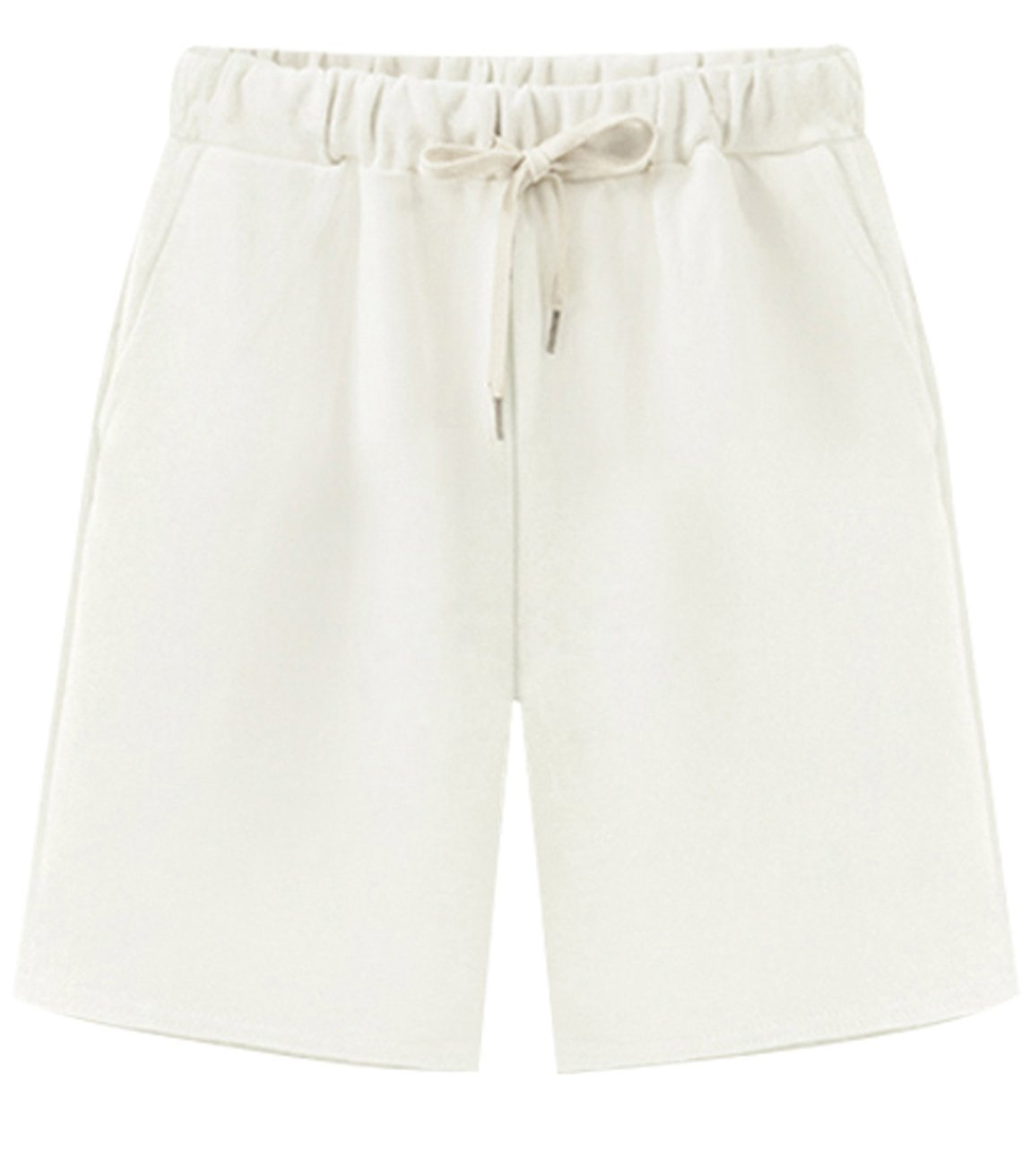 HOW'ON Women's Soft Knit Elastic Waist Jersey Casual Bermuda Shorts with Drawstring White M