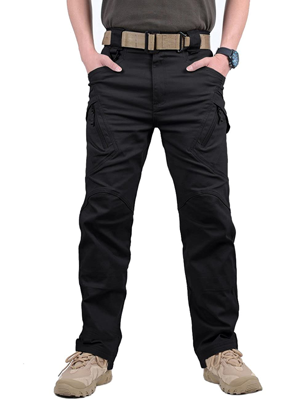 CRYSULLY Mens Tactical Pants Military Cotton Mutil Pockets Assault Cargo Work Trousers 9Q