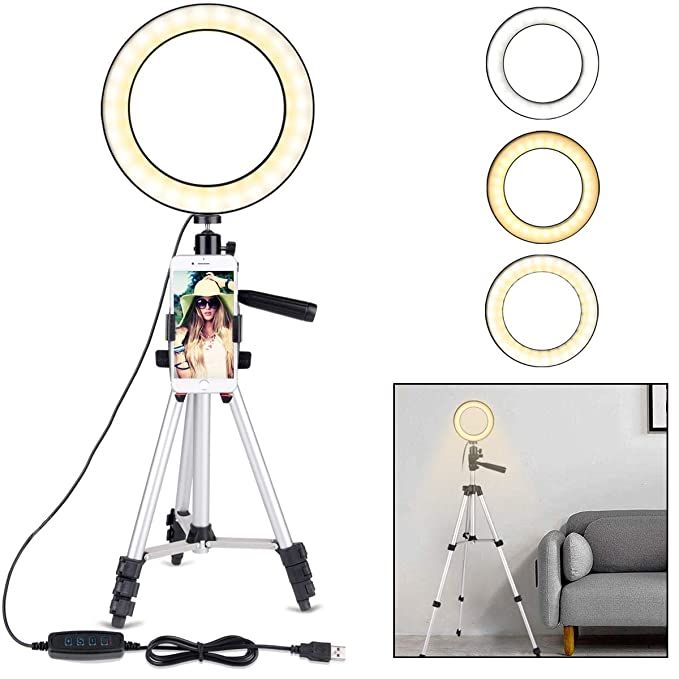 2595d08501a9 B-Land 7.9 quot  Ring Light with Tripod Stand for YouTube Video and Makeup