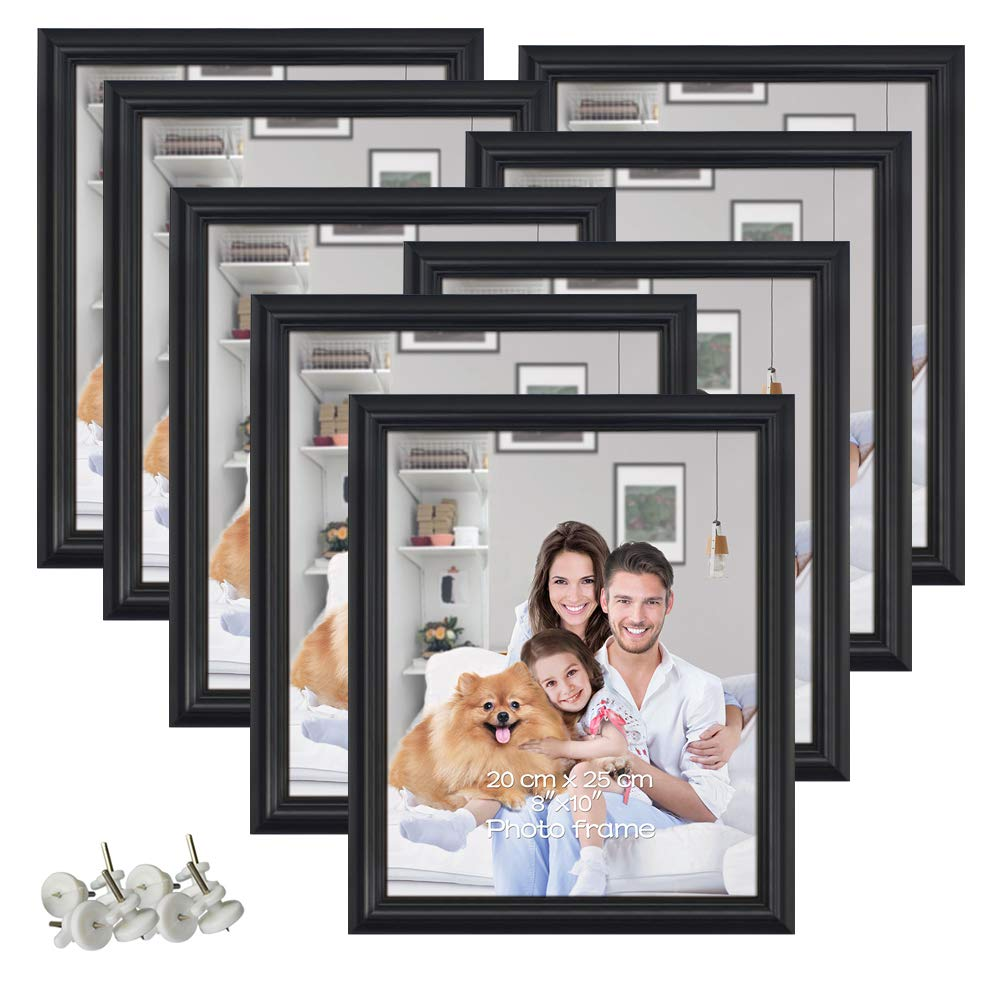 PETAFLOP 8 Pack 8x10 Picture Frames Black 8 by 10 Decorative Poster Frame Wall and Desktop Display by PETAFLOP