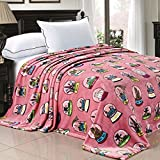 Home Soft Things Boon Light Weight Small World Collection Printed Flannel Fleece Blanket Cities of The World Pink (Twin)