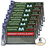 XL MYLATECH SURVIVAL Reusable Emergency Thermal Blankets |6 PACK | 62''x84'' Extra Large | (Olive Drab, Army Green)