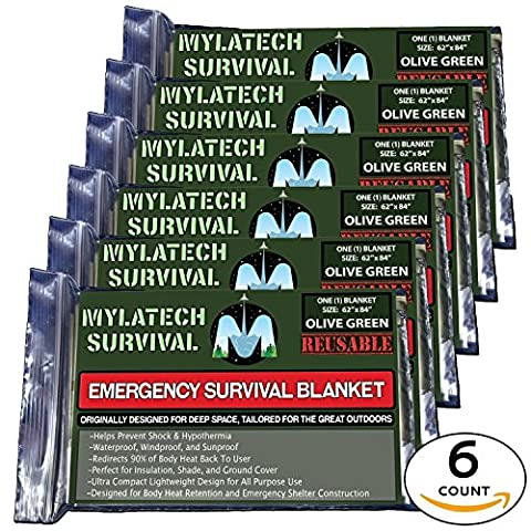 """MYLATECH SURVIVAL XL Reusable Emergency Thermal Blankets  6 PACK   62""""x84"""" Extra Large   Olive Green   Our High Tech 95%+ Heat Retention Mylar is Waterproof and Field Tested By Service Members"""