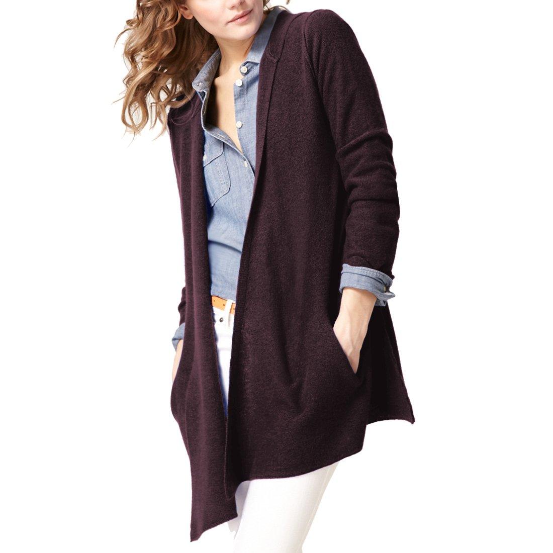 Parisbonbon Women's 100% Cashmere Hooded Cardigan Color Aubergine Size 3X by Parisbonbon