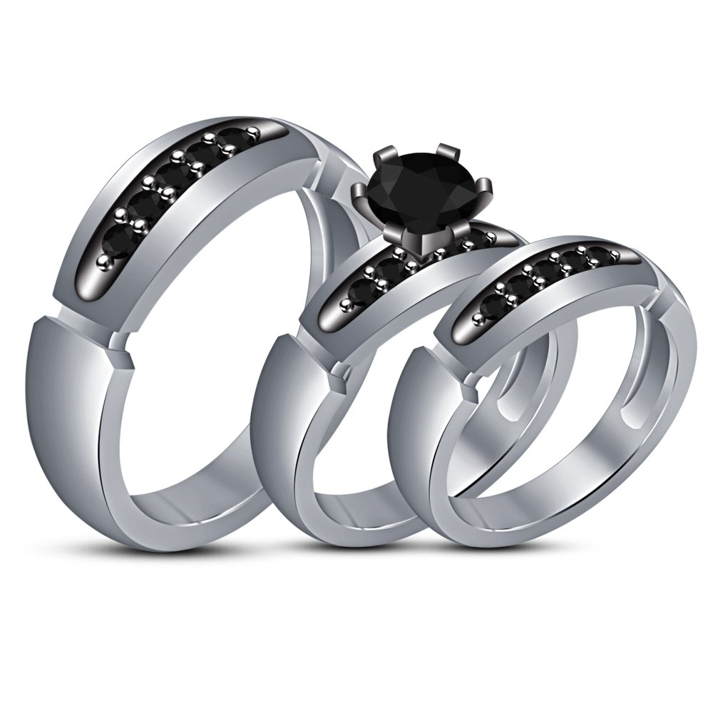 TVS-JEWELS His & Hir Matching White Platinum Plated 925 Sterling Silver Trio Wedding Bridal Ring Set (white plated)