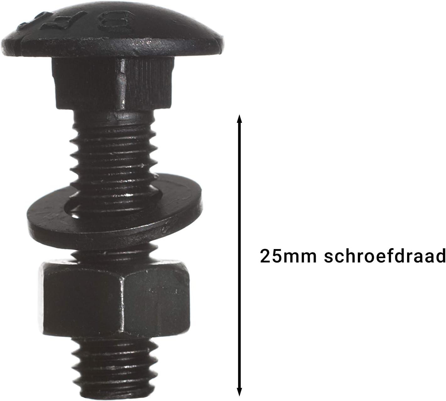 Schlossschrauben mit Mutter und Scheibe verzinkt schwarz M8 x 30 mm pro 10 St/ück