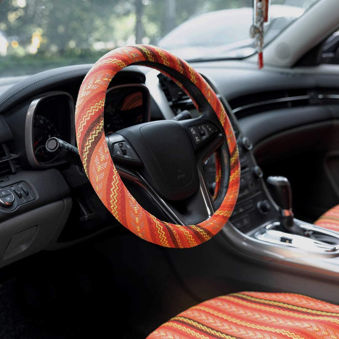 15 inch New Baja Blanket Car Steering Wheel Cover Universal Fit Most Cars Automotive Blue Ethnic Style Coarse Flax Cloth