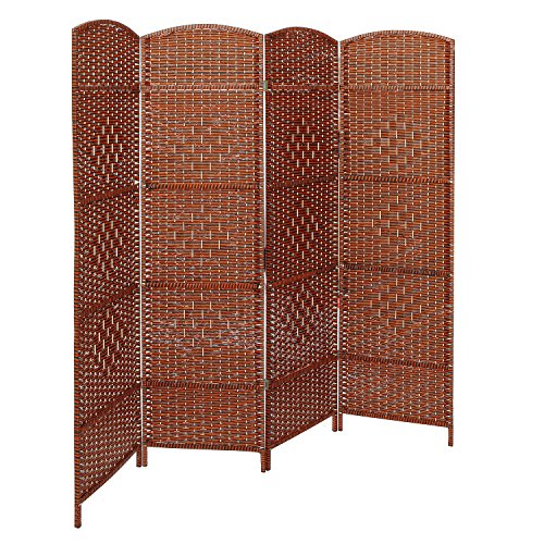 MyGift Decorative Freestanding 4 Hinged Panel Woven Brown