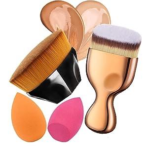 Flawless Foundation Brush Set Petal Shape Foundation Brush Angled Flat Foundation Brush with Makeup Sponge Blender for Liquid Makeup Powder Cream Cosmetics,Makeup Quickly