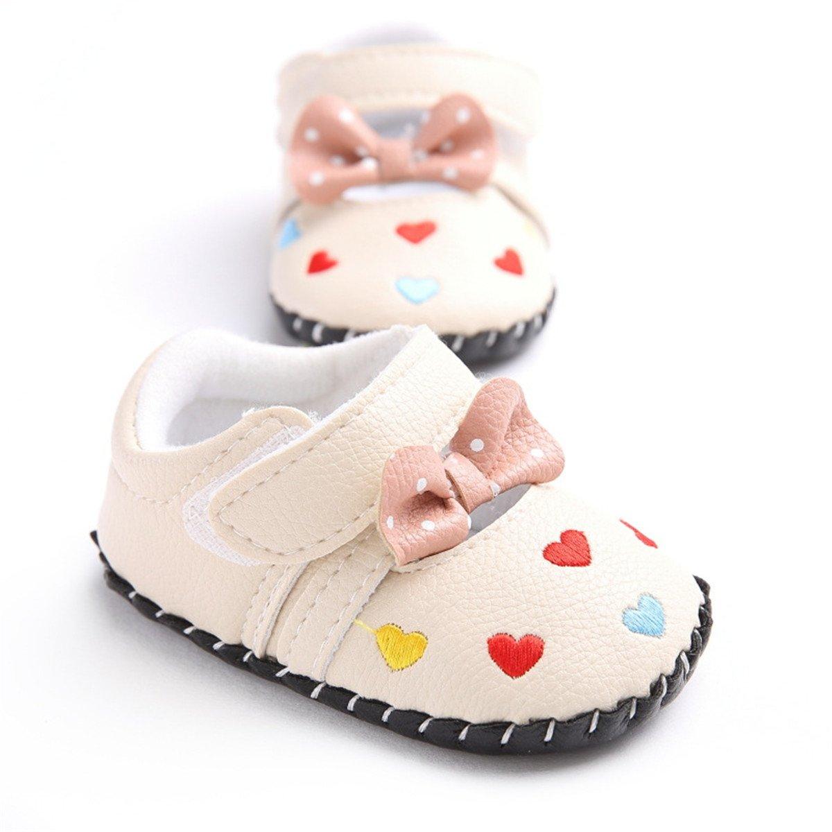Meckior Infant Baby Girls Sandas Summer Soft Leather No-slip Princess Shoes (6-12months, color 2)