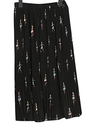 0091aba769f794 Elegant Women Chiffon Skirts Ruffle Dress Maxi Pleated Midi Skirt (Black)  at Amazon Women's Clothing store:
