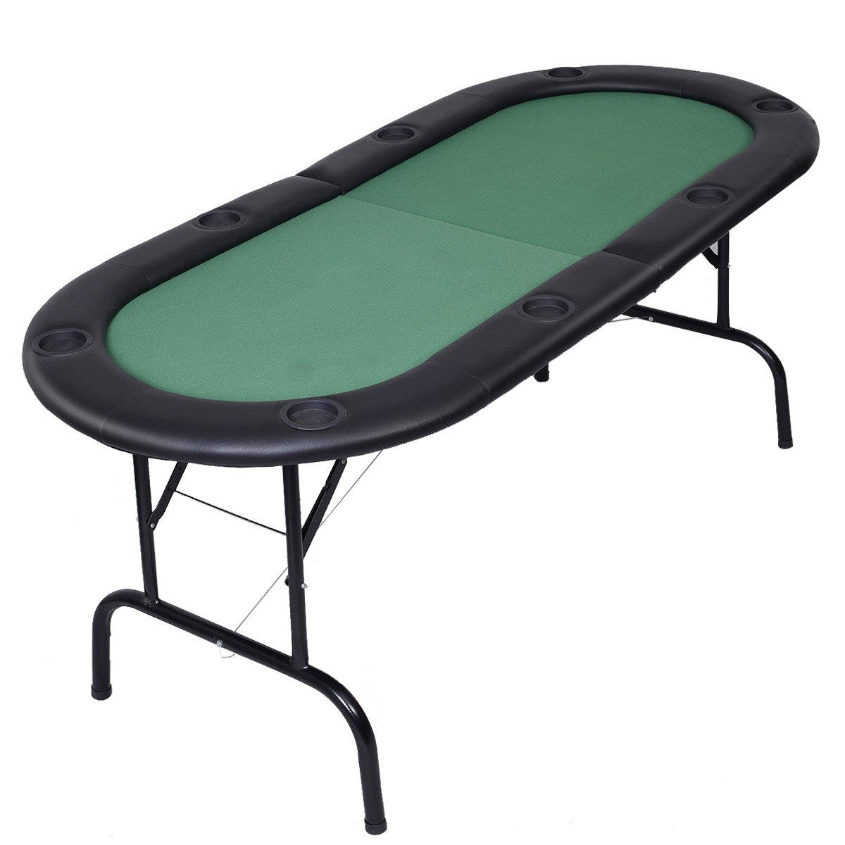 Giantex Foldable 8 Player Poker Table Casino Texas Holdem Folding Poker Play Table