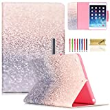 iPad Air Case, Dteck(TM) Colorful Painting Magnetic Closure Design Wallet Case with [Auto Wake/Sleep Function] Flip Stand Smartshell Cover for Apple iPad Air/iPad 5 (01 Glitter Beach Sand)