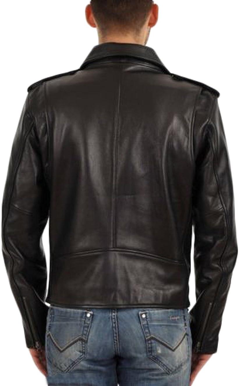 Men Slim Fit Biker Motorcycle Lambskin Leather Jacket Coat Outwear Jackets T1211