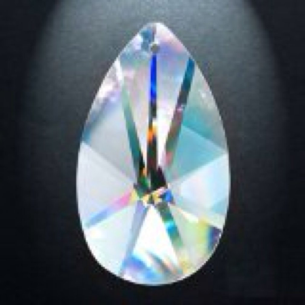 Asfour Crystal 873 Pear-Shape Clear Crystal Prism, 3-Inch, 1 Hole , Box of 30 Pieces by Asfour (Image #1)