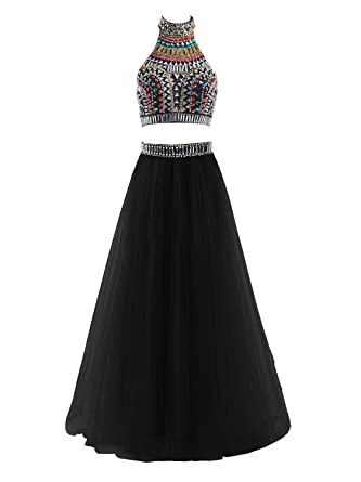 MarryingHoney Lisa Two Piece Halter Prom Dresses Long Tulle Party Gown With Beads LS077