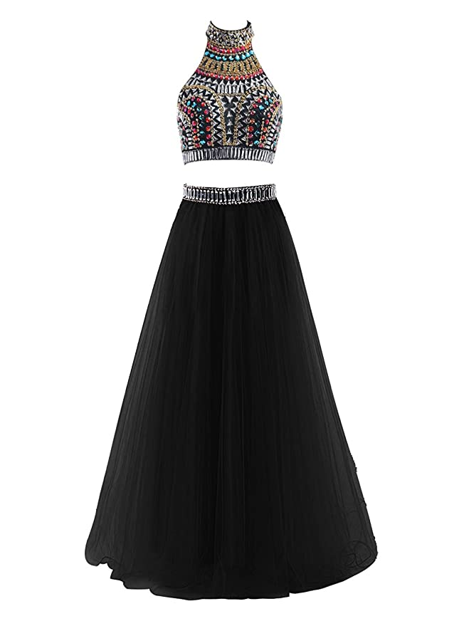 Amazon.com: MarryingHoney Lisa Two Piece Halter Prom Dresses Long Tulle Party Gown with Beads LS077: Clothing