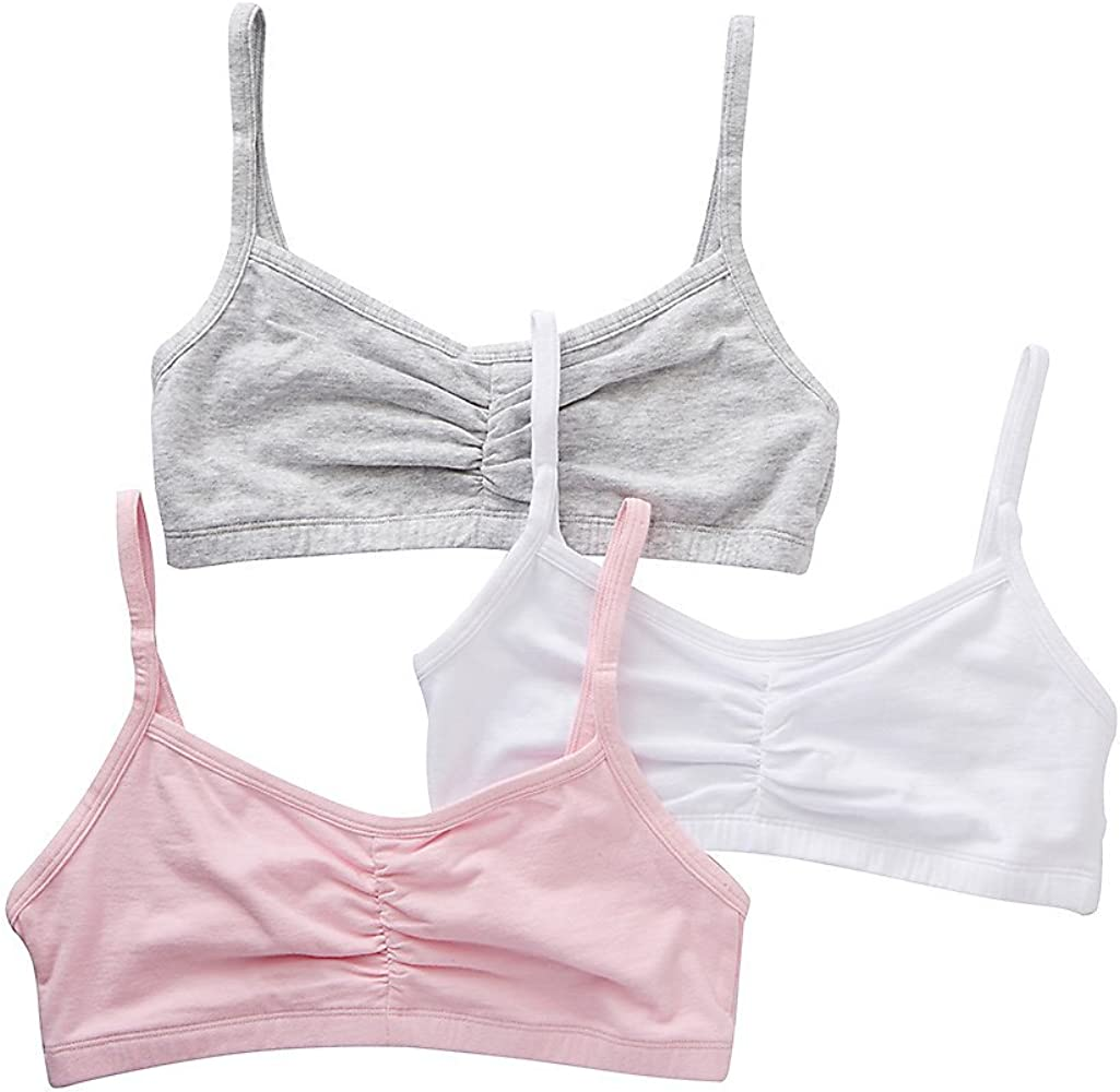 d55d21c71102d Bestform Strappy Shirred Front Bra 3 per Pack (32, Pink/Grey/White) at Amazon  Women's Clothing store: